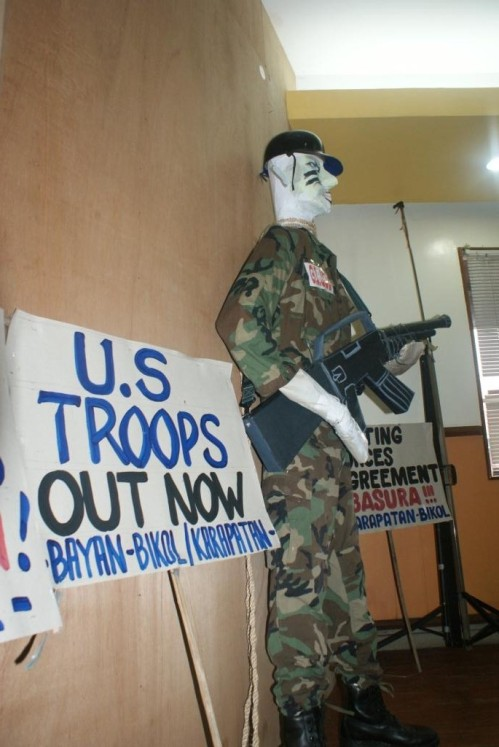 US troops effigy